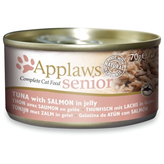 Latinha gato Applaws sénior 70g - Atum com salmão em gelatina.