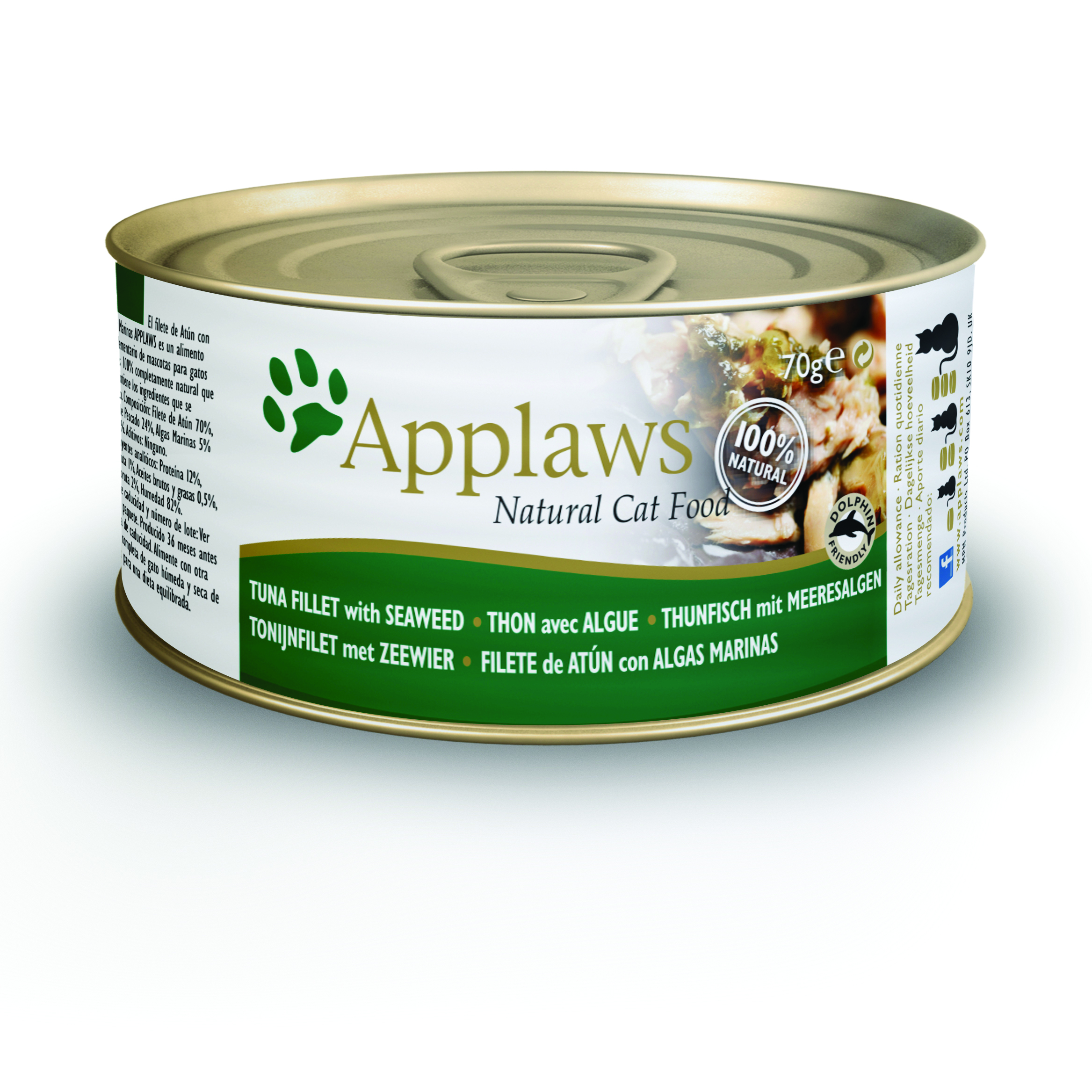 Latinha gato Applaws 70g - Filete de atum com algas