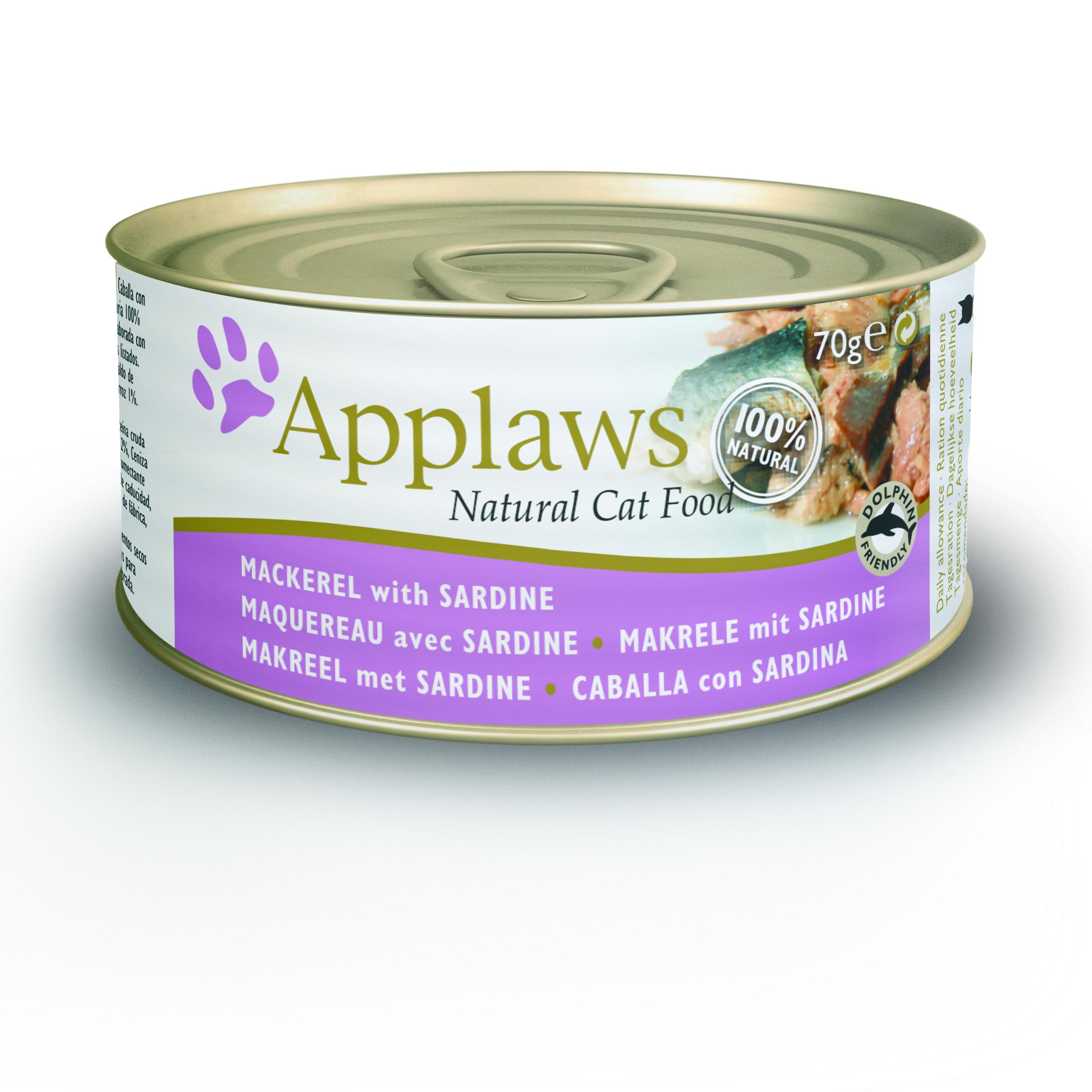 Latinha gato Applaws 70g - Cavala com sardinha